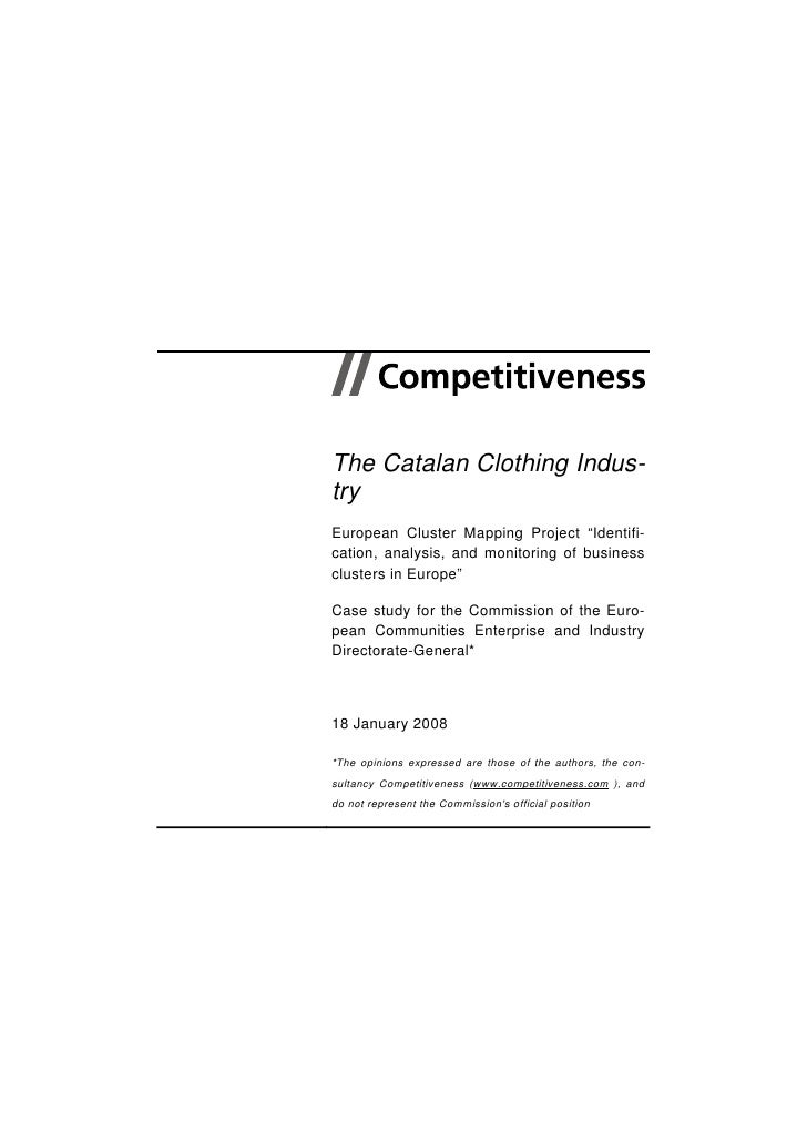 """The Catalan Clothing Indus- try European Cluster Mapping Project """"Identifi- cation, analysis, and monitoring of business c..."""