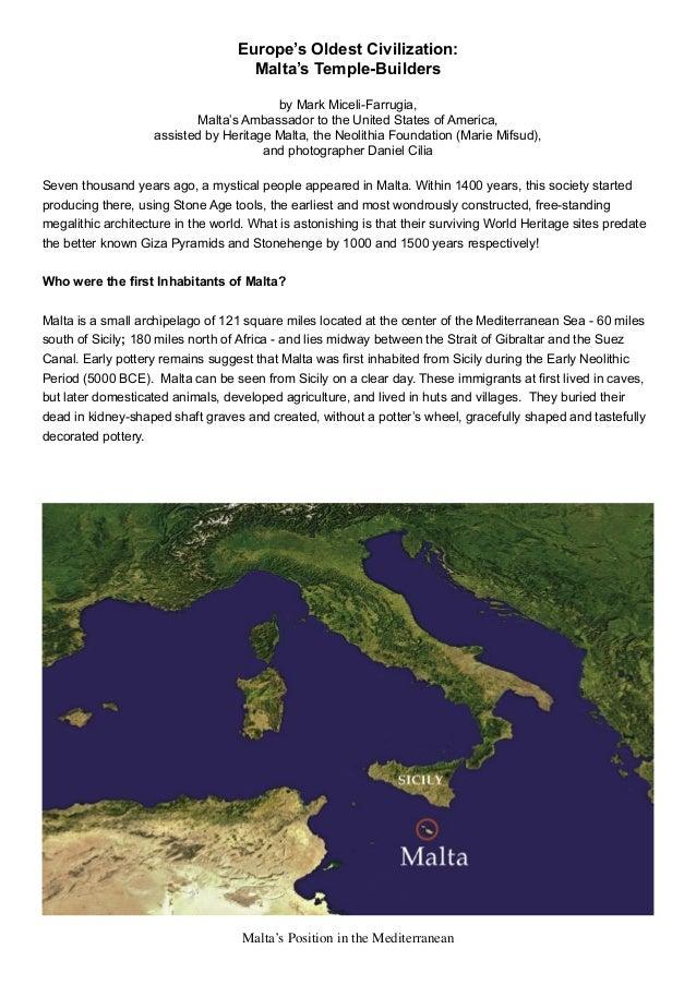 Europe's Oldest Civilization: Malta's Temple-Builders by Mark Miceli-Farrugia, Malta's Ambassador to the United States of ...
