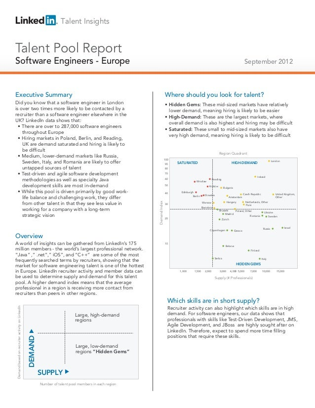 Talent Insights  Talent Pool Report  Software Engineers - Europe Technical Salespeople  September 2012  Executive Summary ...