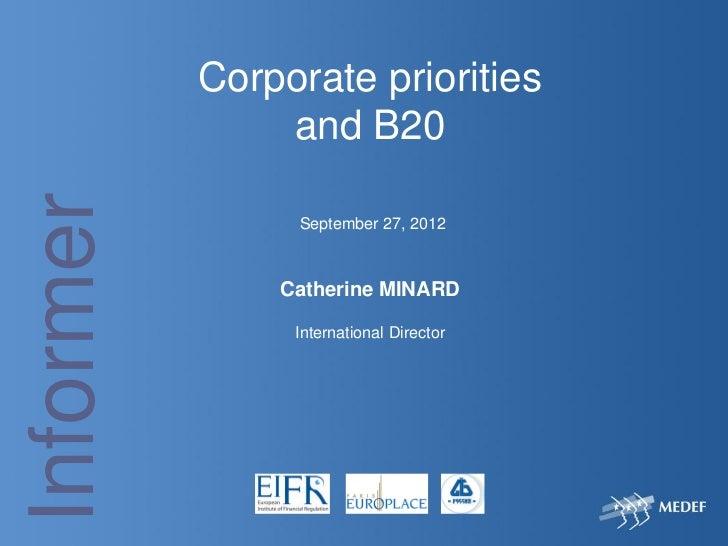 Corporate priorities and B20