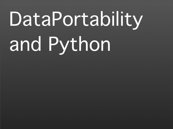 Europython 2008: DataPortability and Python