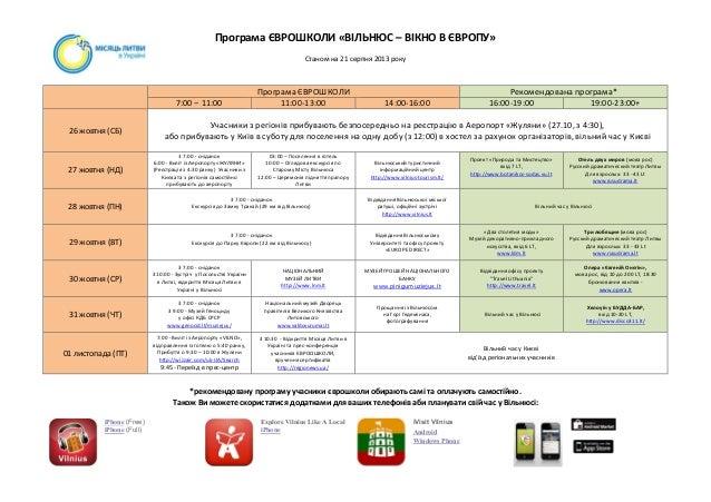 Euroschool vilnius programme