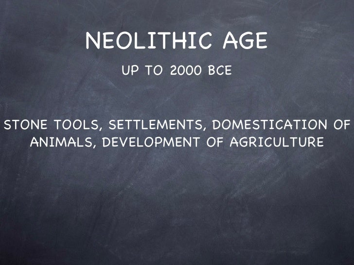NEOLITHIC AGE UP TO 2000 BCE STONE TOOLS, SETTLEMENTS, DOMESTICATION OF ANIMALS, DEVELOPMENT OF AGRICULTURE