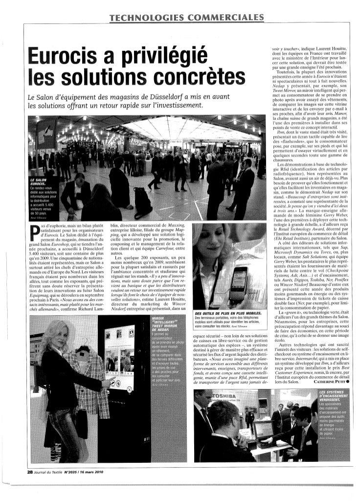 Eurosis a privilegie_des_solutions_concretes_journal_du_textile_16_mars_2010