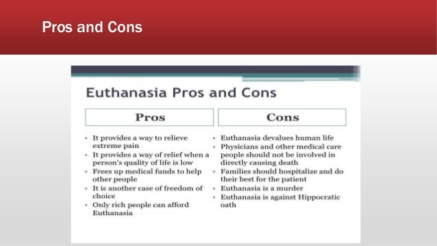 euthanasia pros and cons essays This essay has been submitted by a law student this is not an example of the work written by our professional essay writers an analysis of euthanasia its pros and cons.