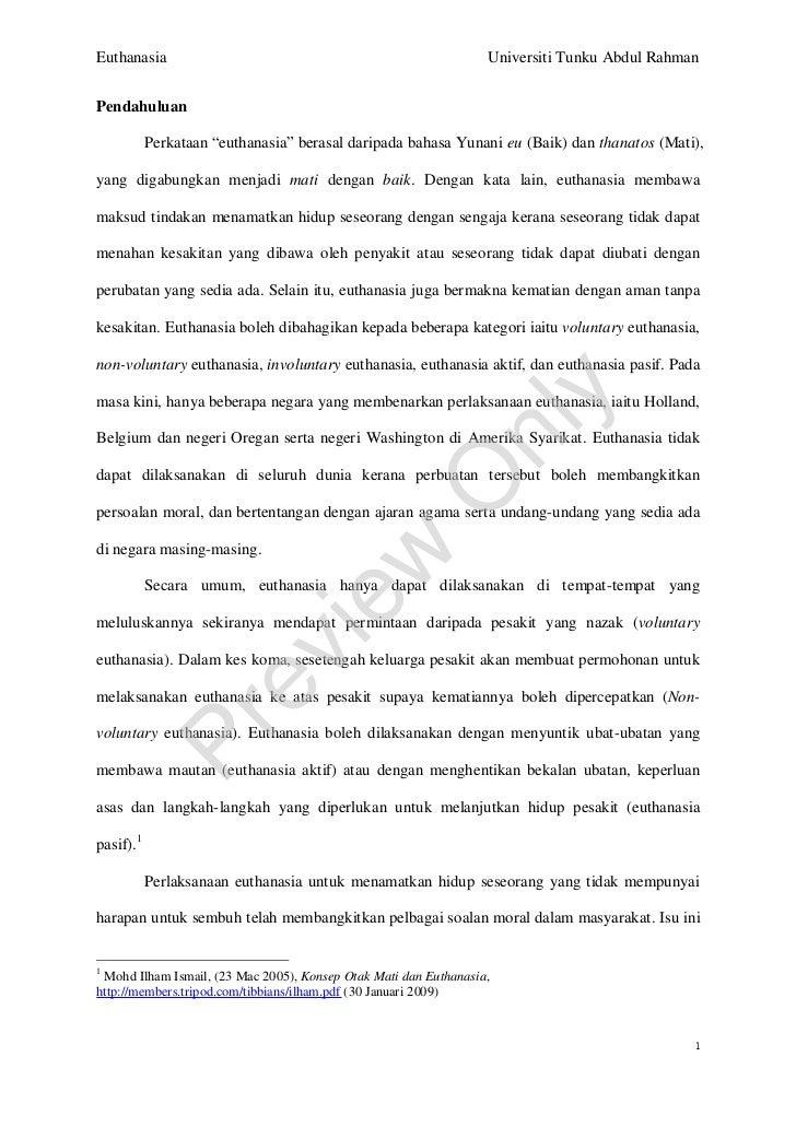 Euthanasia                                                        Universiti Tunku Abdul Rahman   Pendahuluan             ...