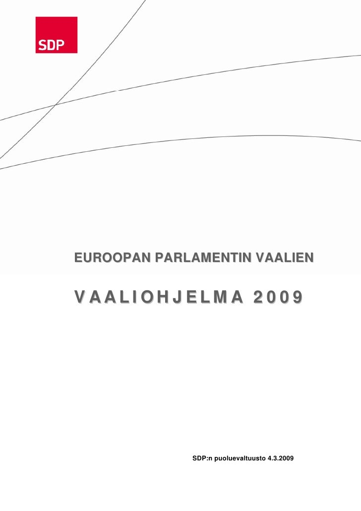 SDP:n EU-vaaliohjelma09