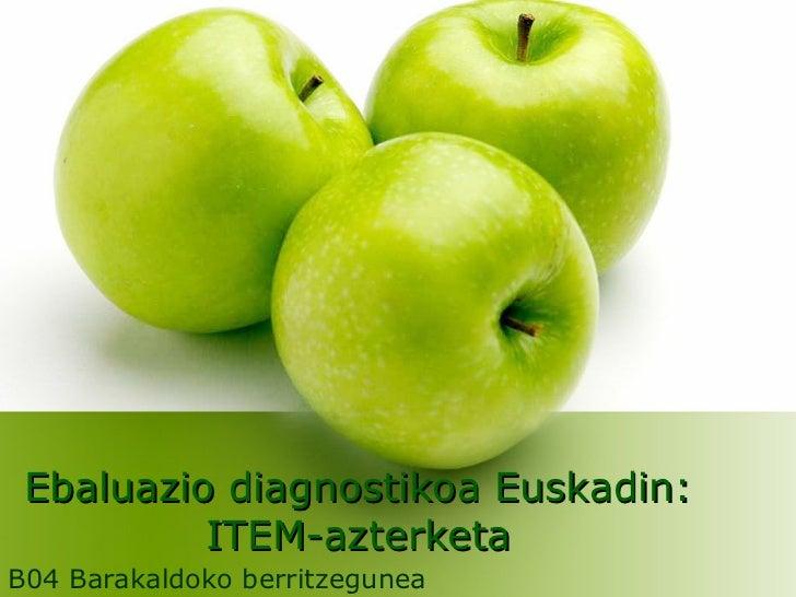 Ebaluazio diagnostikoa Euskadin: ITEM-azterketa B04 Barakaldoko berritzegunea