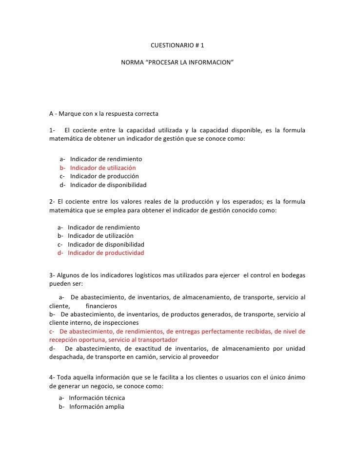 """CUESTIONARIO # 1<br />NORMA """"PROCESAR LA INFORMACION""""<br />A - Marque con x la respuesta correcta<br />1-   El cociente en..."""