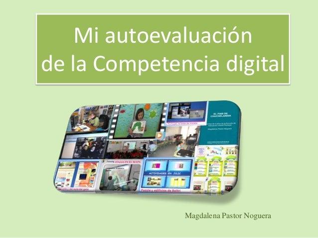 Mi autoevaluación de la Competencia digital Magdalena Pastor Noguera