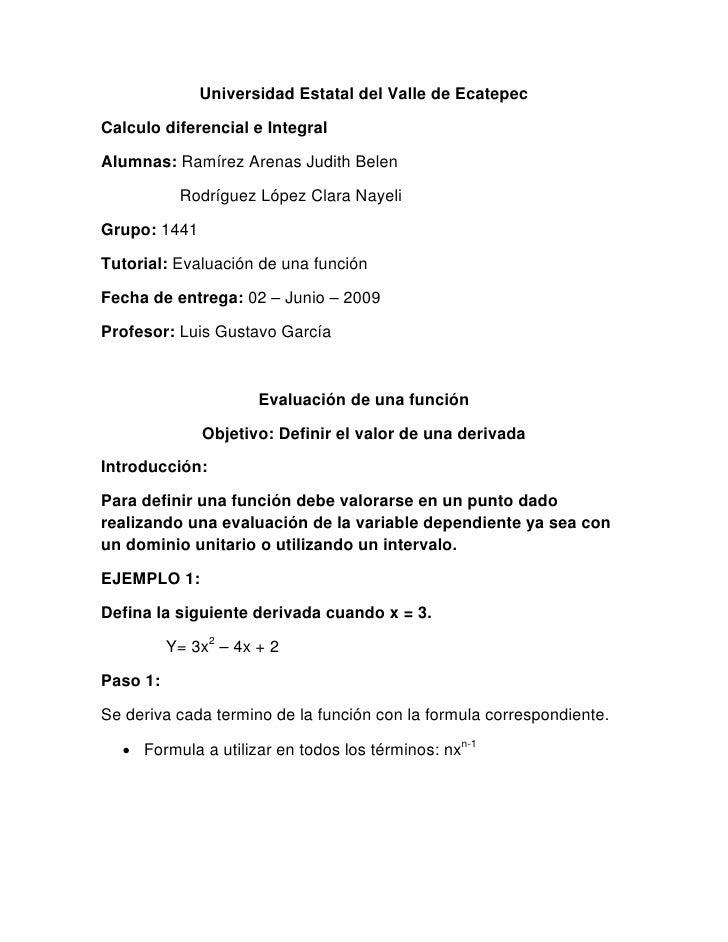 Universidad Estatal del Valle de Ecatepec  Calculo diferencial e Integral  Alumnas: Ramírez Arenas Judith Belen           ...