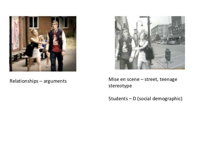 Relationships – arguments   Mise en scene – street, teenage                            stereotype                         ...