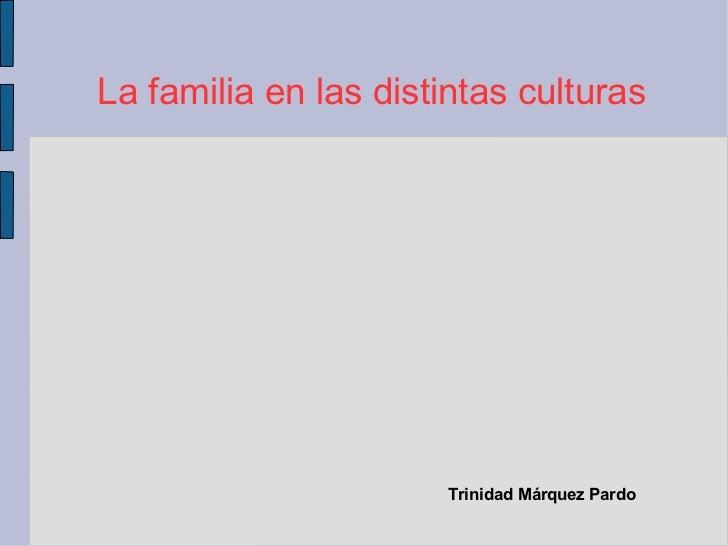 La familia en las distintas culturas                       Trinidad Márquez Pardo
