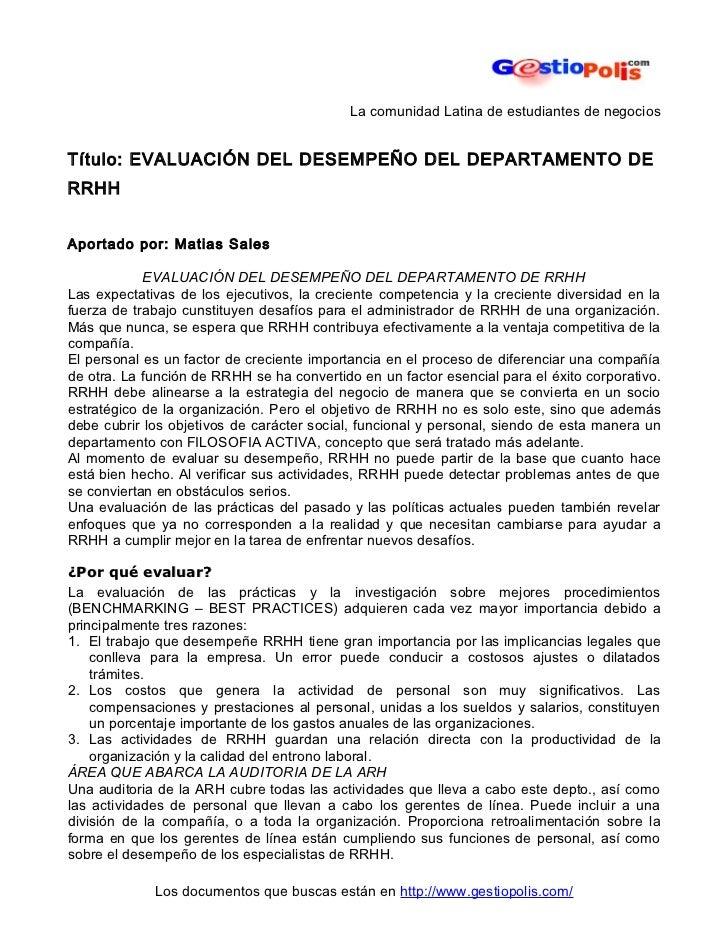 La comunidad Latina de estudiantes de negociosTítulo: EVALUACIÓN DEL DESEMPEÑO DEL DEPARTAMENTO DERRHHAportado por: Matias...
