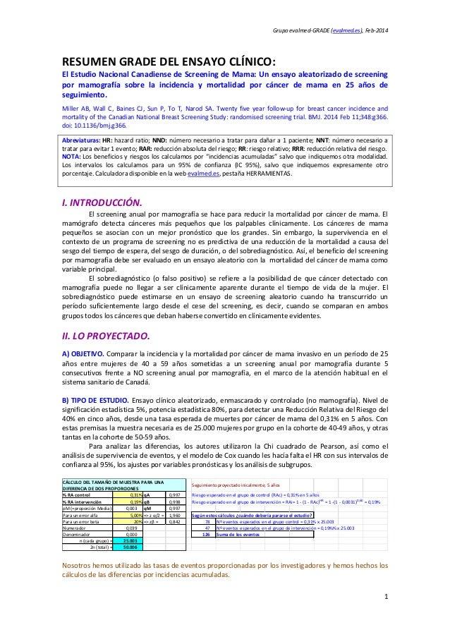 Grupoevalmed‐GRADE(evalmed.es),Feb‐2014  RESUMENGRADEDELENSAYOCLÍNICO: ElEstudioNacionalCanadiensedeScreenin...