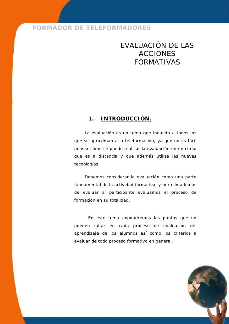 FORMADOR DE TELEFORMADORES                                  EVALUACIÓN DE LAS                                      ACCIONE...