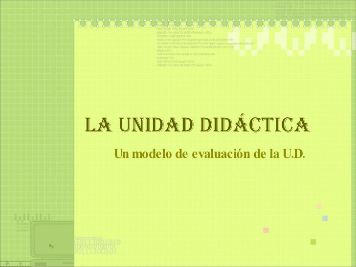 Evaluación de la Unidad Didáctica