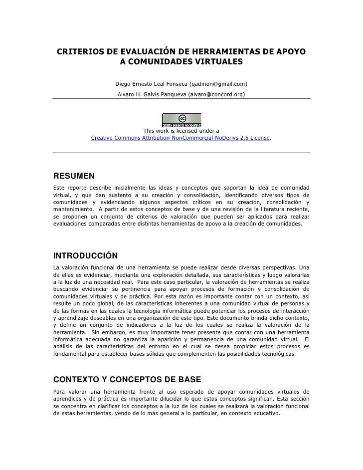 Evaluación de plataformas para Comunidades Virtuales