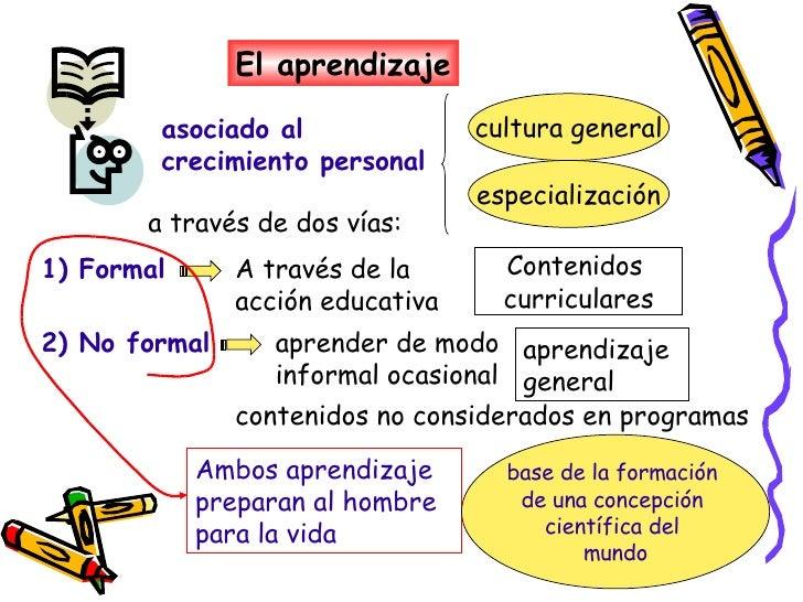 El aprendizaje asociado al crecimiento personal a través de dos vías: cultura general especialización 1) Formal A través d...