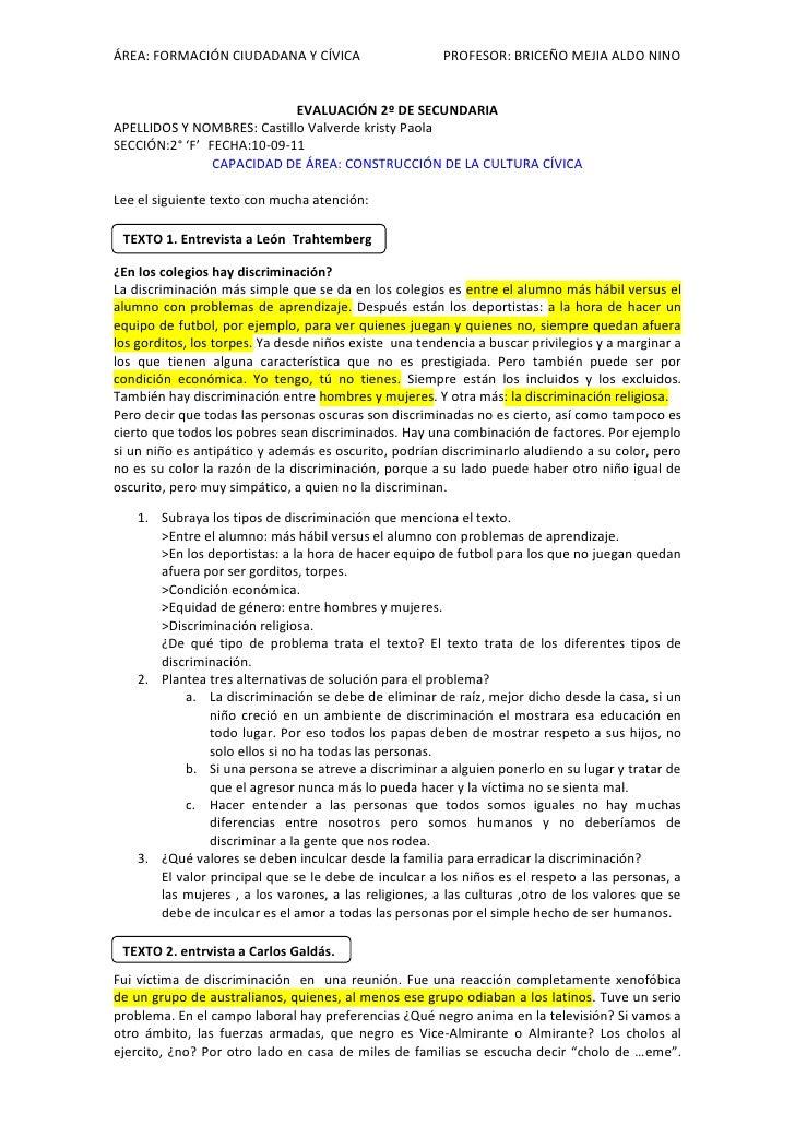 EVALUACIÓN 2º DE SECUNDARIA<br />APELLIDOS Y NOMBRES: Castillo Valverde kristy Paola <br />SECCIÓN:2° 'F'FECHA:10-09-11<br...