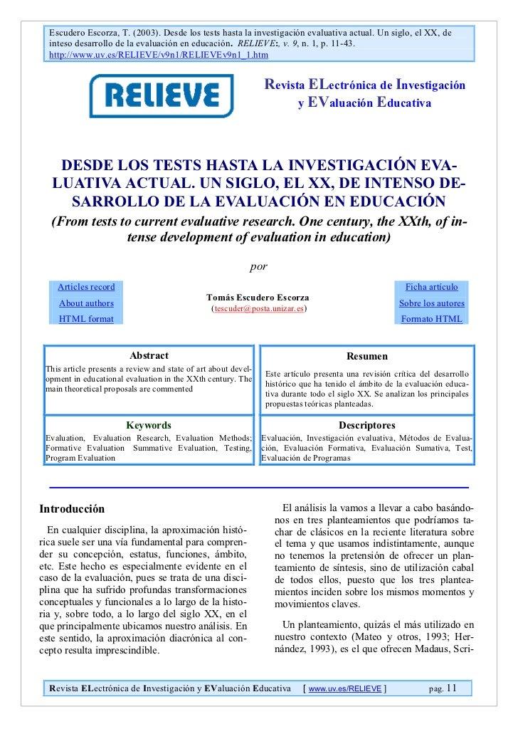 Escudero Escorza, T. (2003). Desde los tests hasta la investigación evaluativa actual. Un siglo, el XX, de  inteso desarro...