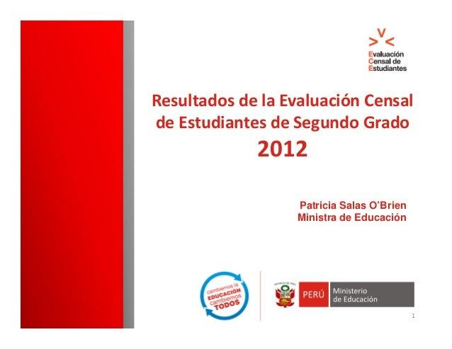ResultadosdelaEvaluaciónCensaldeEstudiantesdeSegundoGrado             2012                   Patricia Salas O'Bri...