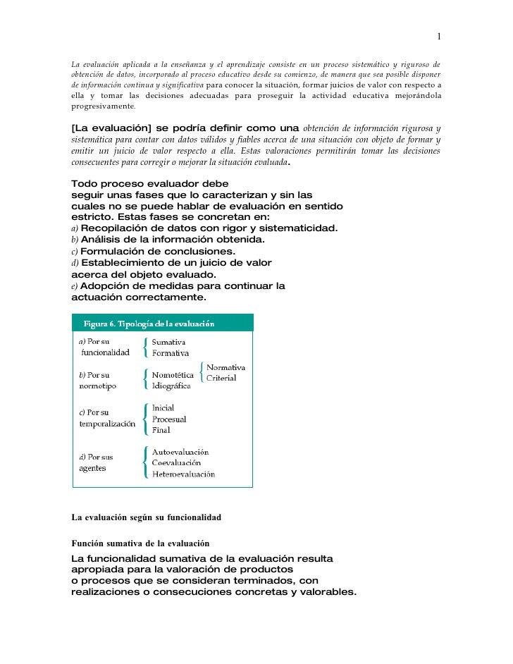 Evaluación concepto tipología