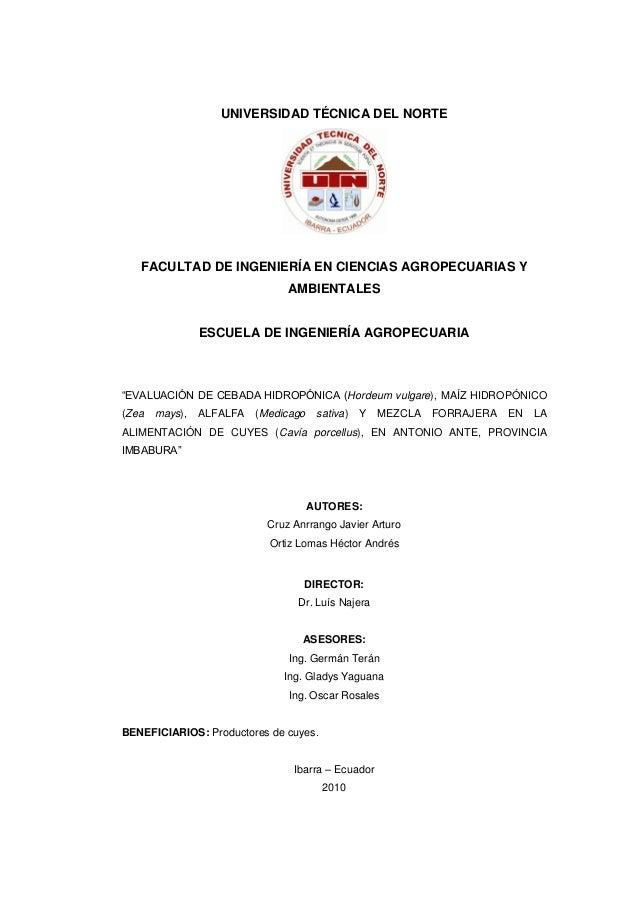 UNIVERSIDAD TÉCNICA DEL NORTE  FACULTAD DE INGENIERÍA EN CIENCIAS AGROPECUARIAS Y AMBIENTALES  ESCUELA DE INGENIERÍA AGROP...