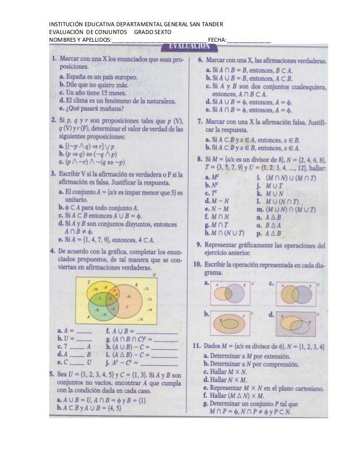 Evaluación de conjuntos grado sexto