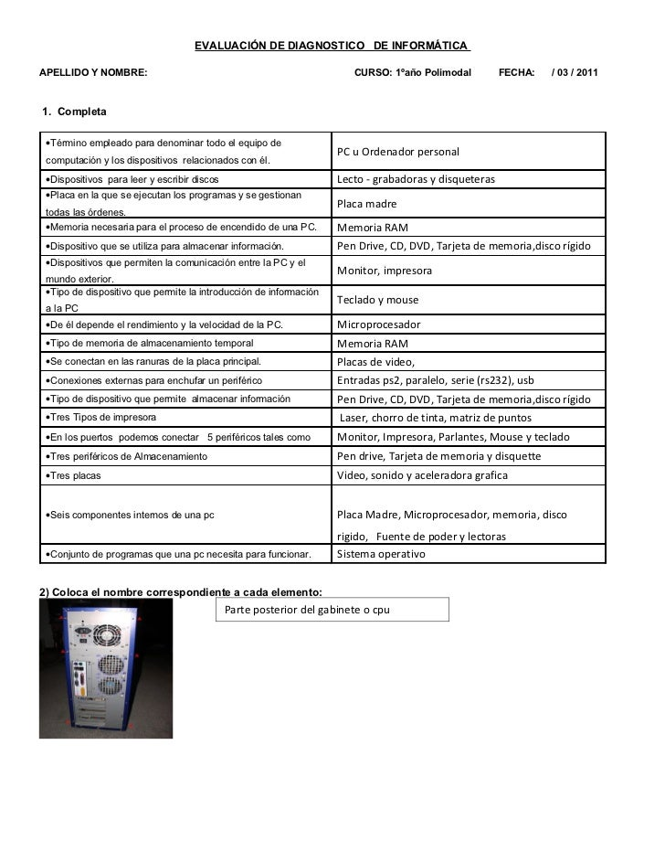 EVALUACIÓN DE DIAGNOSTICO DE INFORMÁTICAAPELLIDO Y NOMBRE:                                                     CURSO: 1ºañ...