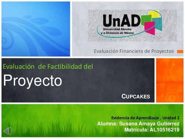 Evaluación Financiera de Proyectos Evaluación de Factibilidad del Proyecto Evidencia de Aprendizaje . Unidad 2 Alumna: Sus...