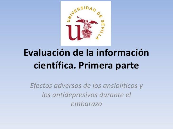 Evaluación de la información científica<br />Efectos adversos de los ansiolíticos y los antidepresivos durante el embarazo...