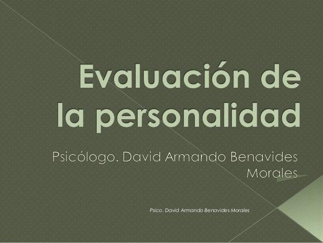 Psico. David Armando Benavides Morales