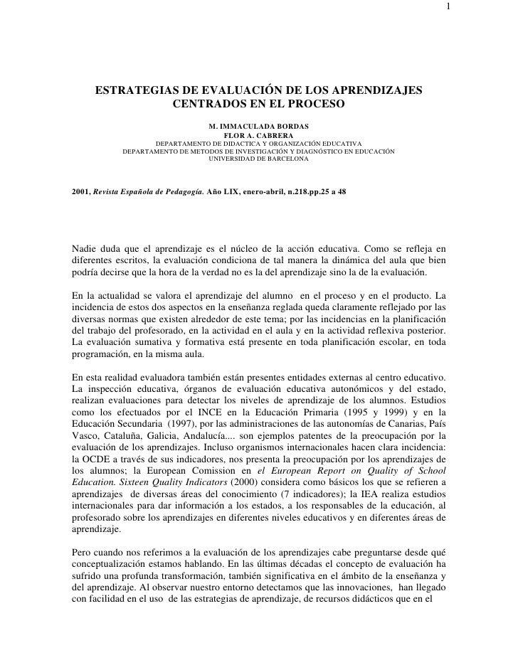 1           ESTRATEGIAS DE EVALUACIÓN DE LOS APRENDIZAJES                 CENTRADOS EN EL PROCESO                         ...