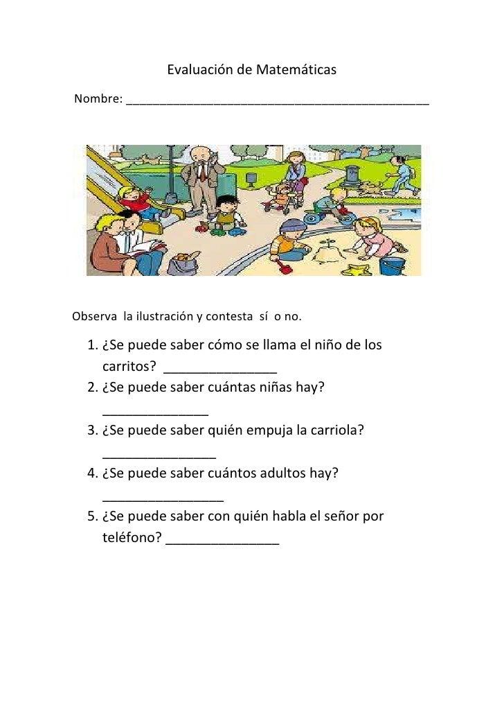 Evaluación de Matemáticas<br />Nombre: _____________________________________________<br />Observa  la ilustración y contes...