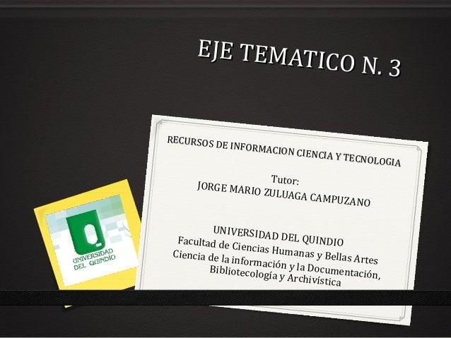 EJE TEMATICO N. 3 EJE TEMATICO N. 3 Tutor:JORGE MARIO ZULUAGA CAMPUZANO UNIVERSIDAD DEL QUINDIOFacultad de Ciencias Humana...