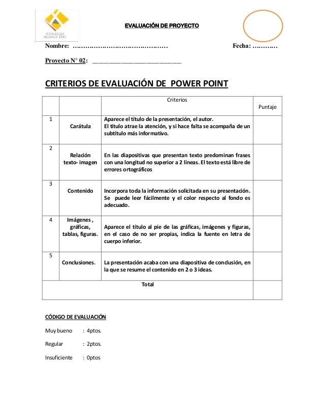 Evaluación de proyecto power point