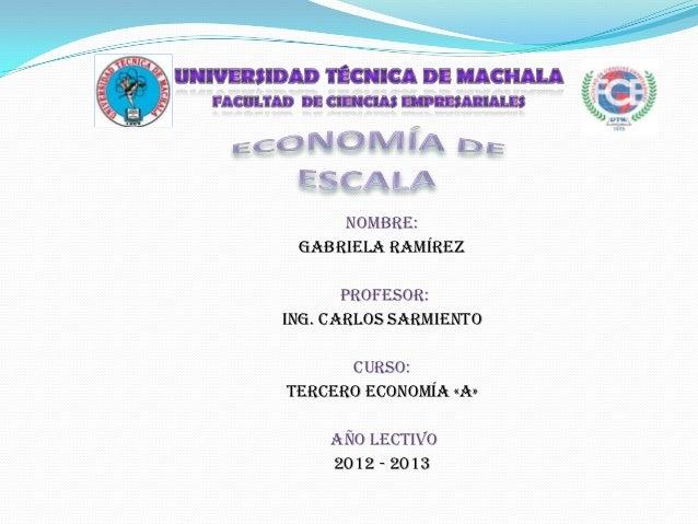 NOMBRE: Gabriela Ramírez       PROFESOR:Ing. Carlos Sarmiento      CURSO:Tercero Economía «A»     AÑO LECTIVO     2012 - 2...