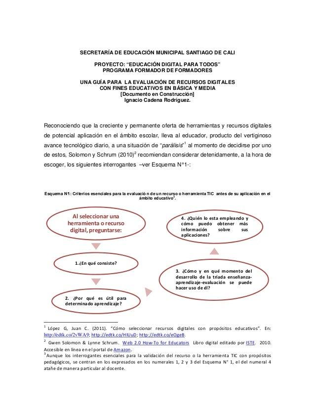 """SECRETARÍA DE EDUCACIÓN MUNICIPAL SANTIAGO DE CALI                        PROYECTO: """"EDUCACIÓN DIGITAL PARA TODOS""""        ..."""
