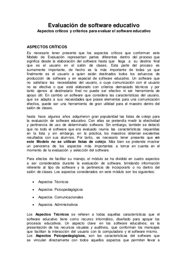 Evaluación de software educativo Aspectos críticos y criterios para evaluar el software educativo ASPECTOS CRÍTICOS Es nec...