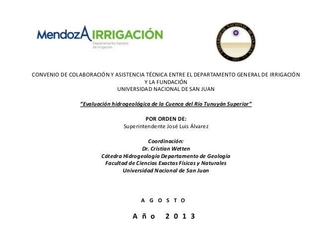 CONVENIO DE COLABORACIÓN Y ASISTENCIA TÉCNICA ENTRE EL DEPARTAMENTO GENERAL DE IRRIGACIÓN Y LA FUNDACIÓN UNIVERSIDAD NACIO...