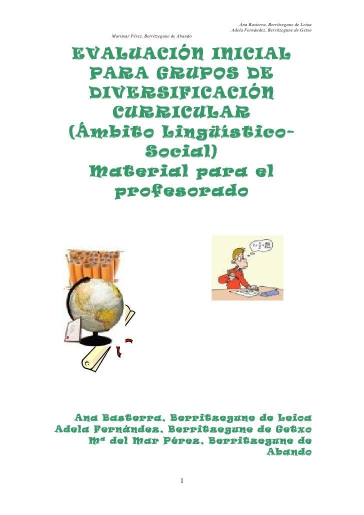 Evaluación inicial en Sociales y Lengua