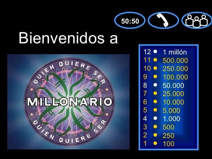 50:50Bienvenidos a                        12   1 millón                        11   500.000                        10   25...