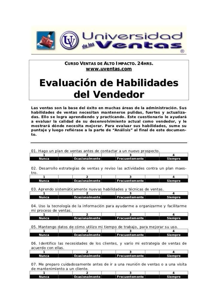 CURSO VENTAS DE ALTO IMPACTO. 24HRS.                         www.uventas.com    Evaluación de Habilidades          del Ven...