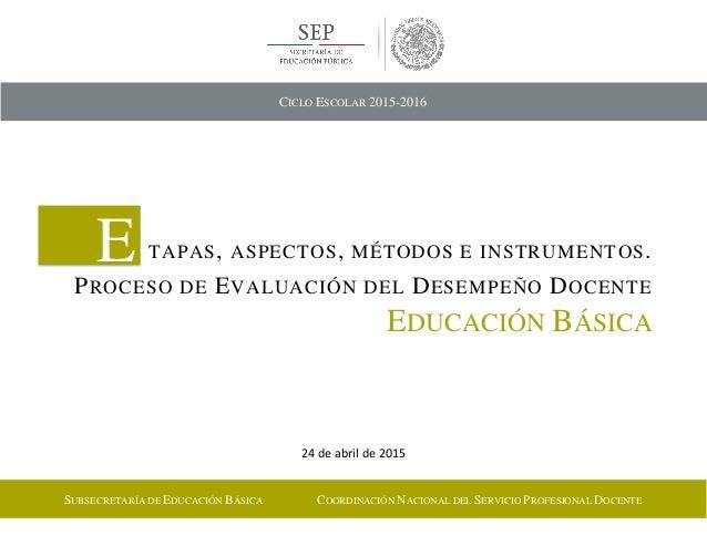 24 de abril de 2015 E TAPAS, ASPECTOS, MÉTODOS E INSTRUMENTOS. PROCESO DE EVALUACIÓN DEL DESEMPEÑO DOCENTE EDUCACIÓN BÁSIC...