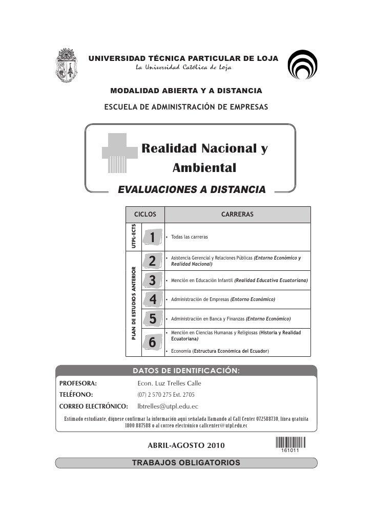 Evaluacion a distancia realidad nacional y ambiental