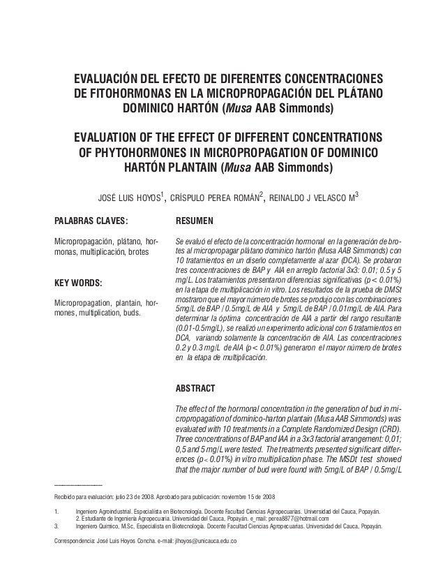 EVALUACIÓN DEL EFECTO DE DIFERENTES CONCENTRACIONES        DE FITOHORMONAS EN LA MICROPROPAGACIÓN DEL PLÁTANO             ...