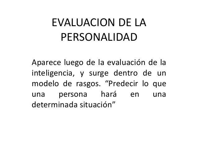 Evaluacion de la personalidad