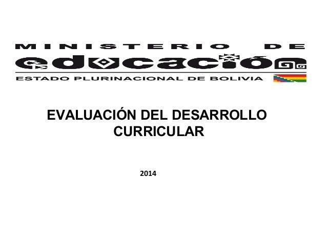 EVALUACIÓN DEL DESARROLLO CURRICULAR 2014