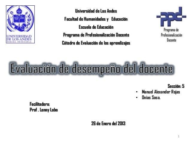 Universidad de Los Andes                     Facultad de Humanidades y Educación                              Escuela de E...